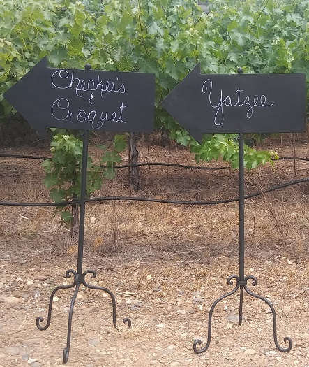 Wooden sign Chalkboard Arrows rentals from Brave Horse Winery