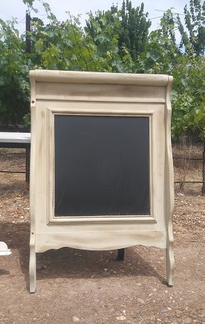 Wooden sign Vanity White Chalkboard rentals from Brave Horse Winery