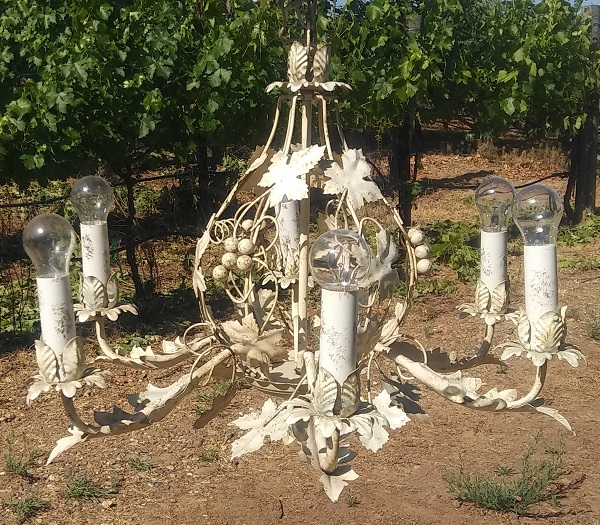 vintage ivory chandelier rental from Brave Horse Winery